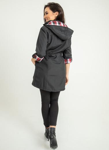 Foremia Bonding Uzun Yağmurluk Şapkalı Siyah